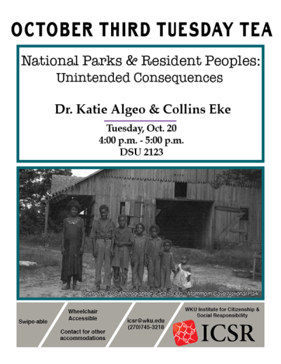 """WKU's Institute for Citizenship and Social Responsibility will present """"National Parks & Resident Peoples: Unintended Consequences"""" with Dr. Katie Algeo and Collins Eke at 4 p.m. Oct. 20 at Downing Student Union, room 2123."""