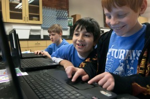 Students design video games in Game On! during Winter Super Saturdays in February. (Photo by Sam Oldenburg)