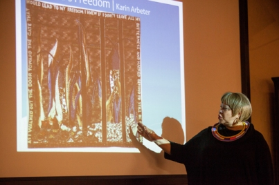 """University of Cincinnati Professor Cynthia Lockhart discussed quilts from the """"Conscience of the Human Spirit"""" exhibit on Oct. 27. The collection is on display at the Kentucky Museum as part of the International Year of South Africa."""