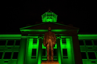 Lighting at Cherry Hall was changed to green as part of a national initiative called Greenlight a Vet.