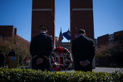 WKU ROTC will observe Veterans Day with a wreath-laying ceremony at 11 a.m. Nov. 11 at the Guthrie Tower. (WKU photo by Bryan Lemon)