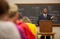 As part of the International Year of South Africa, Dwight N. Hopkins, University of Chicago Divinity School, spoke to students on Nov. 18.