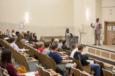 International Education Week 2015 included a presentation by WKU Agriculture Economist Dominique Gumirakiza on Nov. 19.