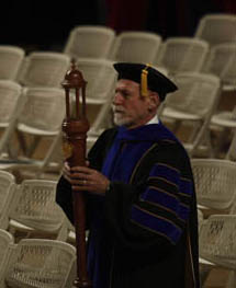 Sociology Professor John Faine led the grand march to open the ceremonies. (WKU photo by Bryan Lemon)