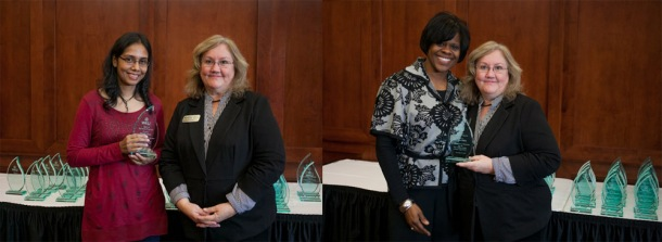 Members of WKU's Five Million Dollar Club were among those recognized Dec. 9 by Cheryl Davis, interim Associate Provost for Research and Creative Activity. Above left: Nahid Gani, Geography and Geology; above right: Martha Sales, TRIO Programs. (WKU photos by Bryan Lemon)