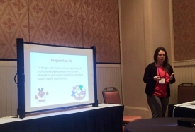 WKU student Courtney Inabnitt presented her research at the Clute Institute International Education Conference.