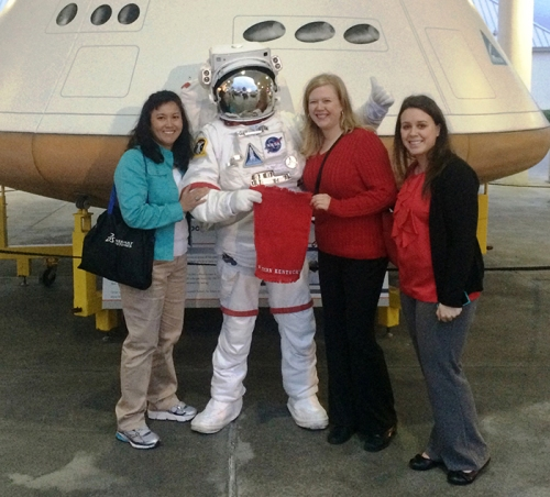 From left: Dr. Martha M. Day, Dr. Lisa C. Duffin and student Courtney Inabnitt visited the Kennedy Space Center during a trip to the Clute Institute International Education Conference.