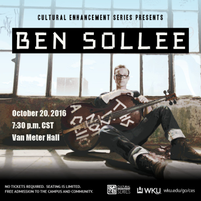 The Cultural Enhancement Series continues Oct. 20 with Ben Sollee.