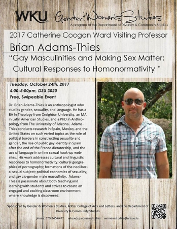 Dr. Brian Adams-Thies, the 2017 Catherine Coogan Ward Visiting Professor, will present a lecture on Oct. 24..