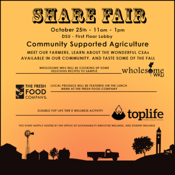 Community Supported Agriculture Share Fair will be held Oct. 25.