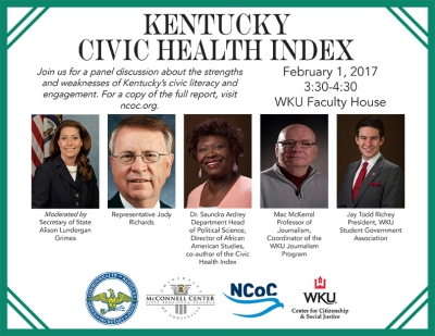A panel discussion on the Kentucky Civic Health Index will be held Feb. 1.