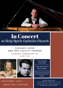 Zachary Lopes and Friends will present a concert on Feb. 26.