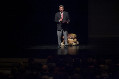 Dr. Larry Snyder introduced the performance by Martha Graham Dance Company on Feb. 3.