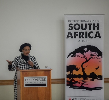 Nowetu Luti, Charge' d'Affaires of the Embassy of South Africa, visited WKU for two presentations on Feb. 10 as part of the International Year of South Africa.