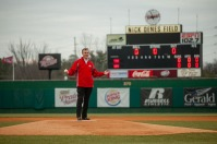 WKU President Gary Ransdell threw out the first pitch at WKU Baseball's home opener on Feb. 19.