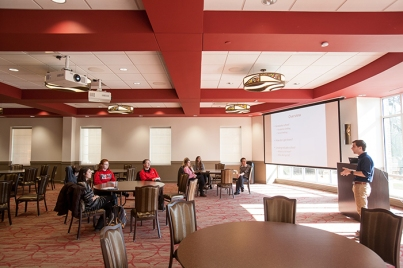 WKU Honors College graduate Chad Coomer made a presentation Feb. 26 at the Honors College/International Center.
