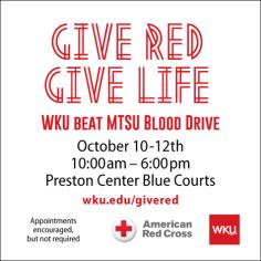 The 2016 WKU-MTSU blood drive will be held Oct. 10-12.