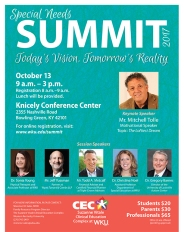 The 2017 Special Needs Summit will be held Oct. 13.