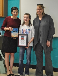 Emma Jayne McGuffey (center), a sixth-grader at Richardsville Elementary School, was honored as a winner of the SOKY Book Fest -- 212° Academy Young Authors Contest. Making the presentation were Literary Outreach Coordinator Sara Volpi (left) and Barnes & Noble Manager Jennifer Bailey.