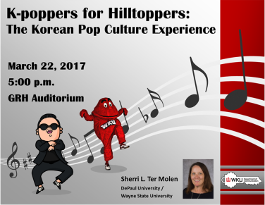 Korean pop culture will be the focus of a presentation on March 22.