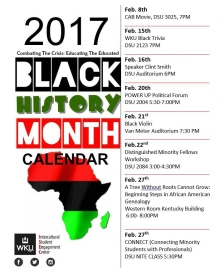Black History Month calendar of events
