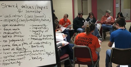 During the first day of class, students who are participating in the Breaking Ground: A Jail Garden Project brainstormed the values they share that will guide their work for the rest of the semester.
