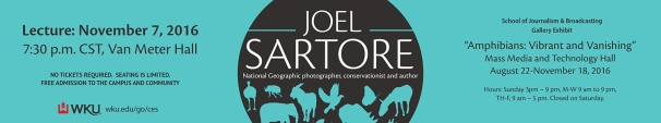 An exhibit by Joel Sartore is open at Mass Media and Technology Hall. He will present a lecture at WKU on Nov. 7.