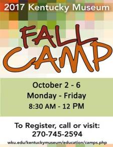 The Kentucky Museum Fall Camp will be held Oct. 2-6.