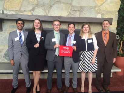 WKU's Model Arab League team competed in the Ohio Valley Regional conference Feb. 18-20. From left: Hatim Alamri, Alexandria Knipp, Noah Stevens, Chris McKenna, Ella Shipp and Faculty Advisor Dr. David DiMeo.