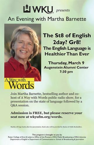 Martha Barnette will present a lecture on March 9.
