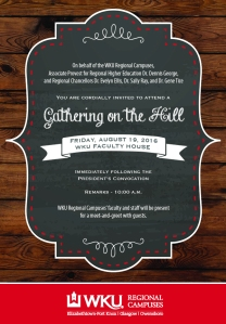 WKU Regional Campuses will host Gathering on the Hill on Aug. 19 at the Faculty House.