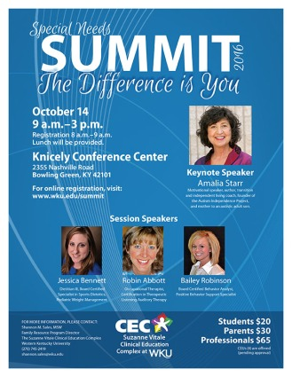 The 2016 Special Needs Summit will be held Oct. 14.