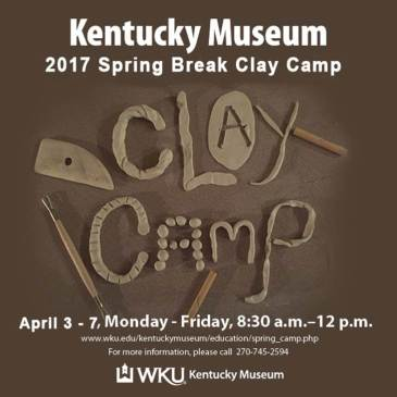 Register for the Kentucky Museum's spring break camp April 3-7 at http://www.wku.edu/kentuckymuseum/education/spring_camp.php