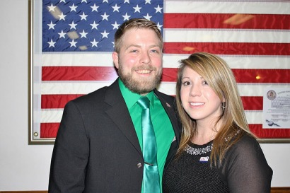 Joe Hunter (with his wife, Lynzie) was elected president of WKU's Student Veterans Alliance.