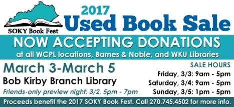 Used Book Sale to benefit SOKY Book Fest will be held March 3-5.