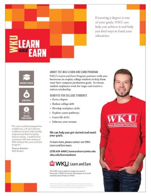 Find out more about WKU's Learn and Earn program online at http://www.wku.edu/learnandearn/