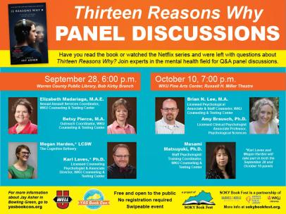 """Panel discussions for """"Thirteen Reasons Why"""" will be held Sept. 28 and Oct. 10."""
