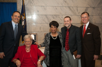 Members of the 2016 class of the Gov. Louie B. Nunn Kentucky Teacher Hall of Fame were inducted March 15 in Frankfort. From left: Gov. Matt Bevin, inductees Marie Jones, Angela Alexander Townsend, Wendell Worley and WKU President Gary Ransdell. (WKU photo by Bryan Lemon)
