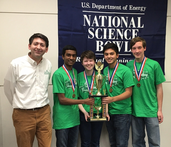 A Gatton Academy team was runner-up in the regional Science Bowl competition. From left: Coach Derick B. Strode, Ayush Prasad, Tricia Thompson, Sherafghan Khan, Caleb Stickney; not pictured: Niven Achenjang.