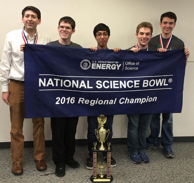 A Gatton Academy team advanced to the National Science Bowl competition. From left: Coach Derick B. Strode, Will Hornsby, Rohan Deshpande, Seth Marksberry, Taylor Young; not pictured Karthik Boyareddygari.