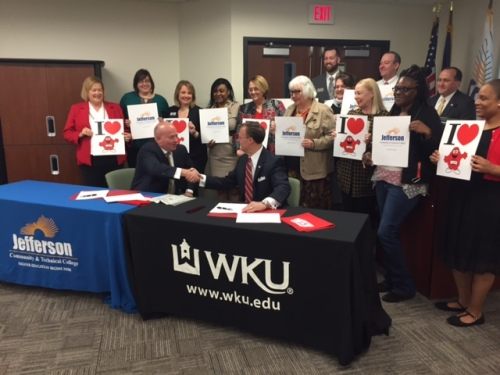 Presidents Dr. Ty J. Handy of Jefferson Community and Technical College and Dr. Gary Ransdell of WKU signed a joint admissions agreement today. (WKU photo by Bob Skipper)