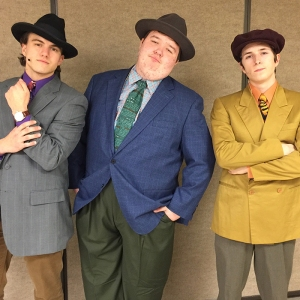 Playing gamblers in Guys and Dolls are (from left) Evan Kerr, Colin Waters and Mason Stevens.