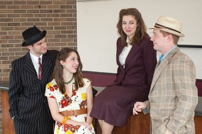 "The stars of WKU's production of ""Guys and Dolls"" are (from left) Aaron Schilling as Nathan Detroit, Shalyn Grow as Miss Adelaide, Abby Kohake as Sister Sarah Brown and Justin Miller as Sky Masterson. The show will be presented April 1-3 at Van Meter Hall."