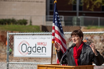 Dr. Cheryl Stevens, dean of Ogden College of Science and Engineering, spoke at the groundbreaking ceremony on April 5. (WKU photo by Clinton Lewis)