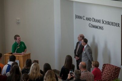 WKU hosted a reception for John C. and Diane Schroeder and a dedication of the commons area at the Honors College/International Center on April 7.