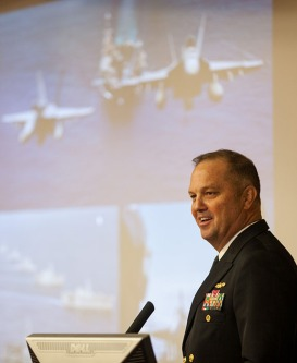 U.S. Navy Rear Admiral Terry Moulton visited WKU on April 11.