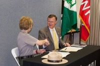 WKU President Gary Ransdell and Mammoth Cave National Park Superintendent Sarah Craighead signed a general agreement April 18 that provides the framework for continued research collaboration. The ceremony opened the 11th Research Symposium.