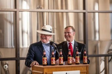 Dr. Pearse Lyons, founder and president of Alltech, joins Dr. Gary Ransdell, WKU president, for the dedication of College Heights Brewing.  (WKU photo by Bryan Lemon)