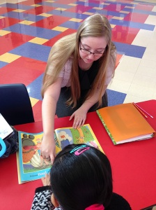 Britney Fightmaster of Independence works with a student during the TopPrep program.