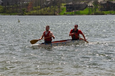 Concrete canoe race men's slalom with Sean McCarty and Jared Claiborne.